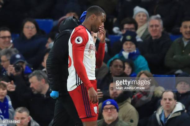 Daniel Sturridge of West Bromwich Albion goes off injured during the Premier League match between Chelsea and West Bromwich Albion at Stamford Bridge...