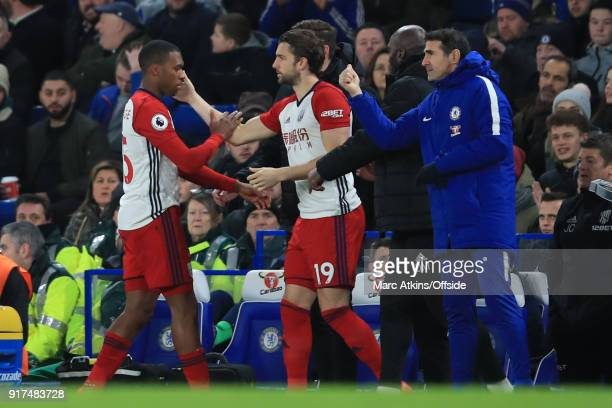 Daniel Sturridge of West Bromwich Albion goes off injured replaced by Jay Rodriguez during the Premier League match between Chelsea and West Bromwich...