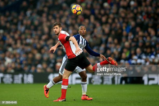 Daniel Sturridge of West Bromwich Albion in action with Jack Stephens of Southampton during the Premier League match between West Bromwich Albion and...