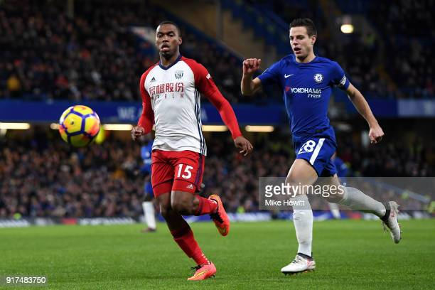 Daniel Sturridge of West Bromwich Albion is challenged by Cesar Azpilicueta of Chelsea during the Premier League match between Chelsea and West...