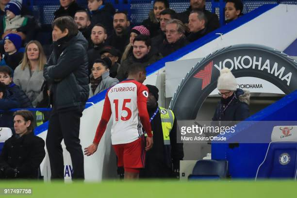 Daniel Sturridge of West Bromwich Albion walks down the tunnel having been injured early in the game during the Premier League match between Chelsea...