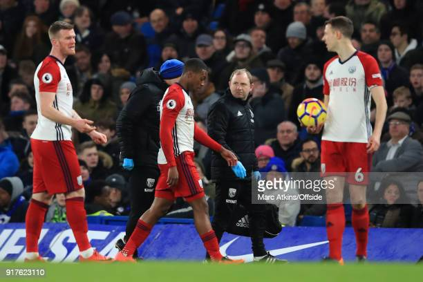Daniel Sturridge of West Bromwich Albion walks off the pitch having picked up an injury during the Premier League match between Chelsea and West...