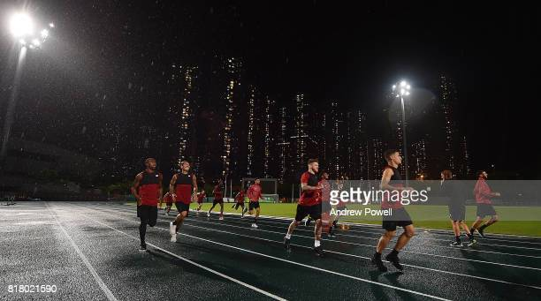 Daniel Sturridge Roberto Firmino Alberto Moreno and Ben Woodburn of Liverpool during a training session on July 18 2017 at the Tseung Kwan O Sports...