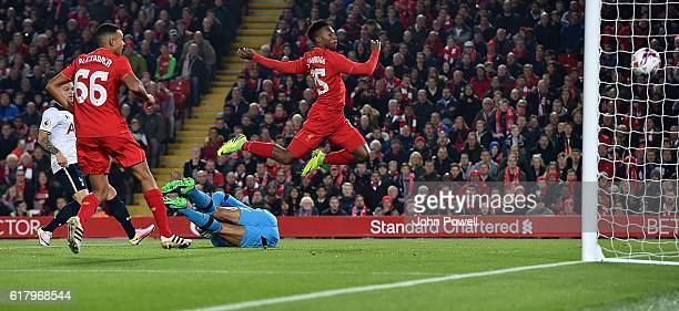 Daniel Sturridge scores the opener for Liverpool during the EFL Cup fourth round match between Liverpool and Tottenham Hotspur at Anfield on October...