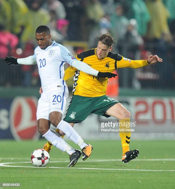 Daniel Sturridge Vykintas Slivka during the FIFA 2018 World Cup Qualifier between Lithuania and England on October 8 2017 in Vilnius Lithuania