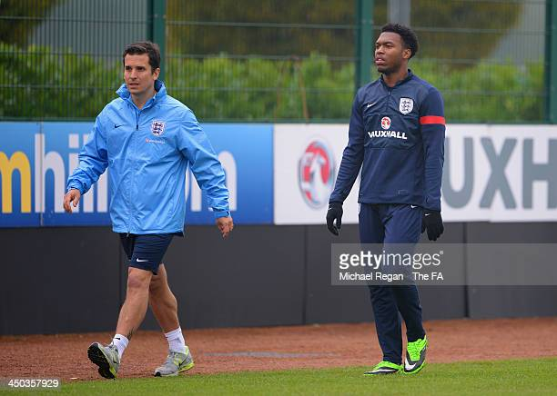 Daniel Sturridge walks out of training during the England training session at London Colney on November 18, 2013 in St Albans, England.