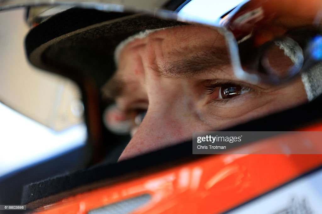 Daniel Suarez, driver of the #51 ARRIS Toyota, looks on during the practice for the NASCAR Camping World Truck Series Texas Roadhouse 200 presented by Alpha Energy Solutions at Martinsville Speedway on October 28, 2016 in Martinsville, Virginia.