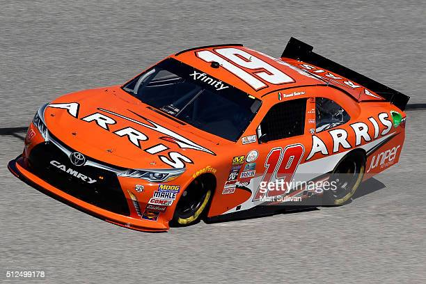 Daniel Suarez driver of the ARRIS Toyota practices for the NASCAR XFINITY Series Heads Up Georgia 250 at Atlanta Motor Speedway on February 26 2016...