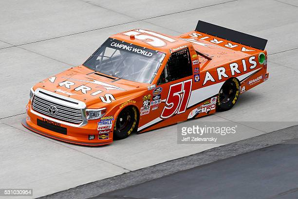 Daniel Suarez driver of the ARRIS Toyota practices for the NASCAR Camping World Truck Series at Dover International Speedway on May 12 2016 in Dover...