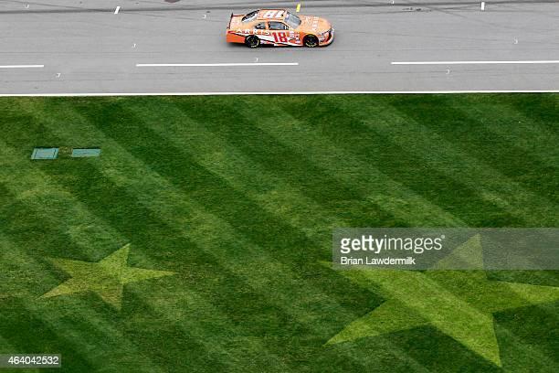 Daniel Suarez driver of the ARRIS Toyota qualifies for the NASCAR XFINITY Series Alert Today Florida 300 at Daytona International Speedway on...