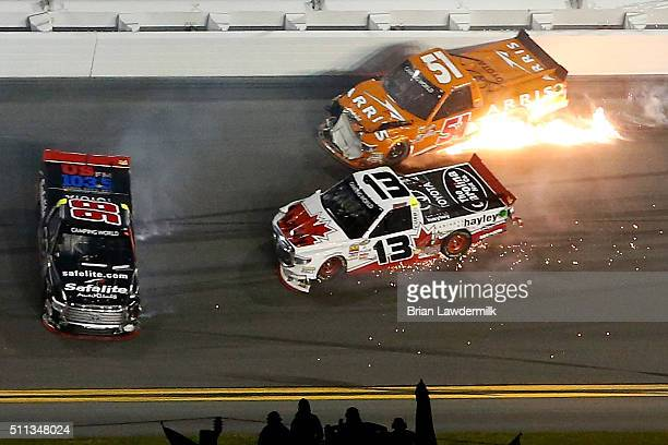 Daniel Suarez driver of the ARRIS Toyota Rico Abreu driver of the Safelite Auto Glass Toyota and Cameron Hayley driver of the Cabinets by Hayley...