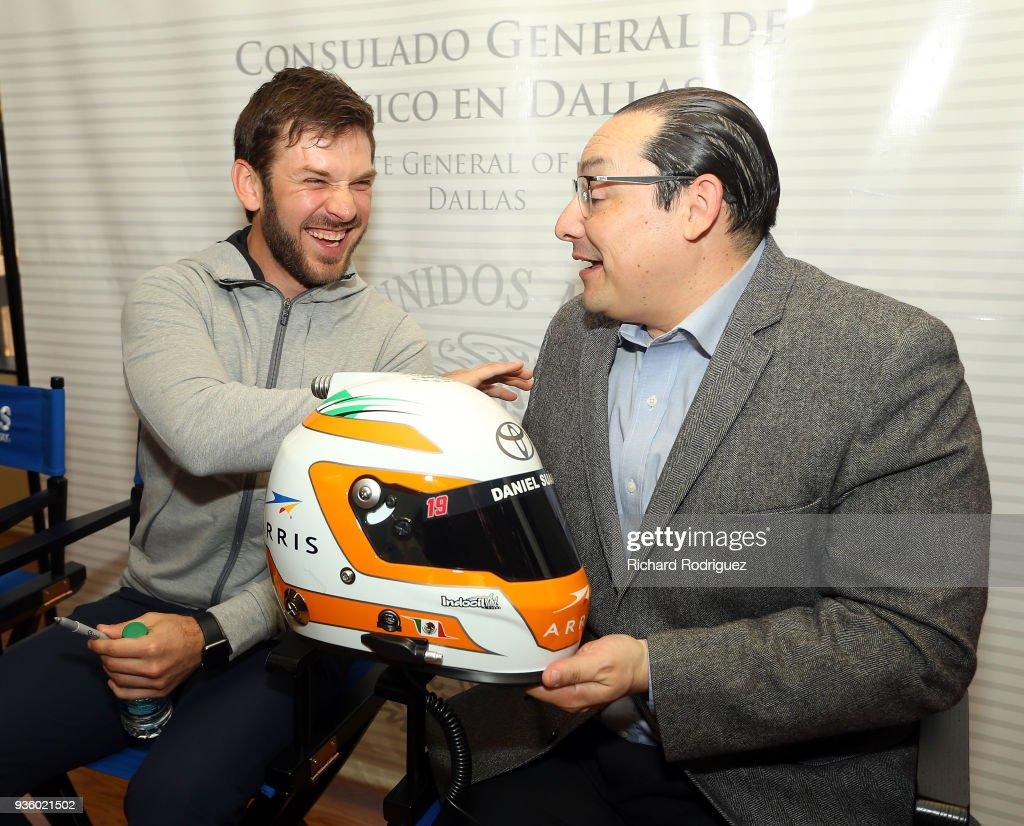 NASCAR driver Daniel Suarez visit the Dallas Consulate de Mexico