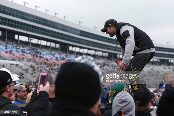 Daniel Suarez driver of the STANLEY Racing for a Miracle Toyota is introduced prior to the Monster Energy NASCAR Cup Series O'Reilly Auto Parts 500...