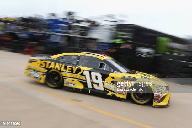 Daniel Suarez driver of the STANLEY Racing for a Miracle Toyota drives through the garage area during practice for the Monster Energy NASCAR Cup...