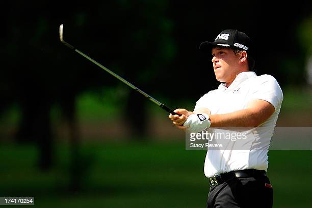 Daniel Summerhays hits his second shot on the first hole during the final round of the Sanderson Farms Championship at Annandale Golf Club on July 21...