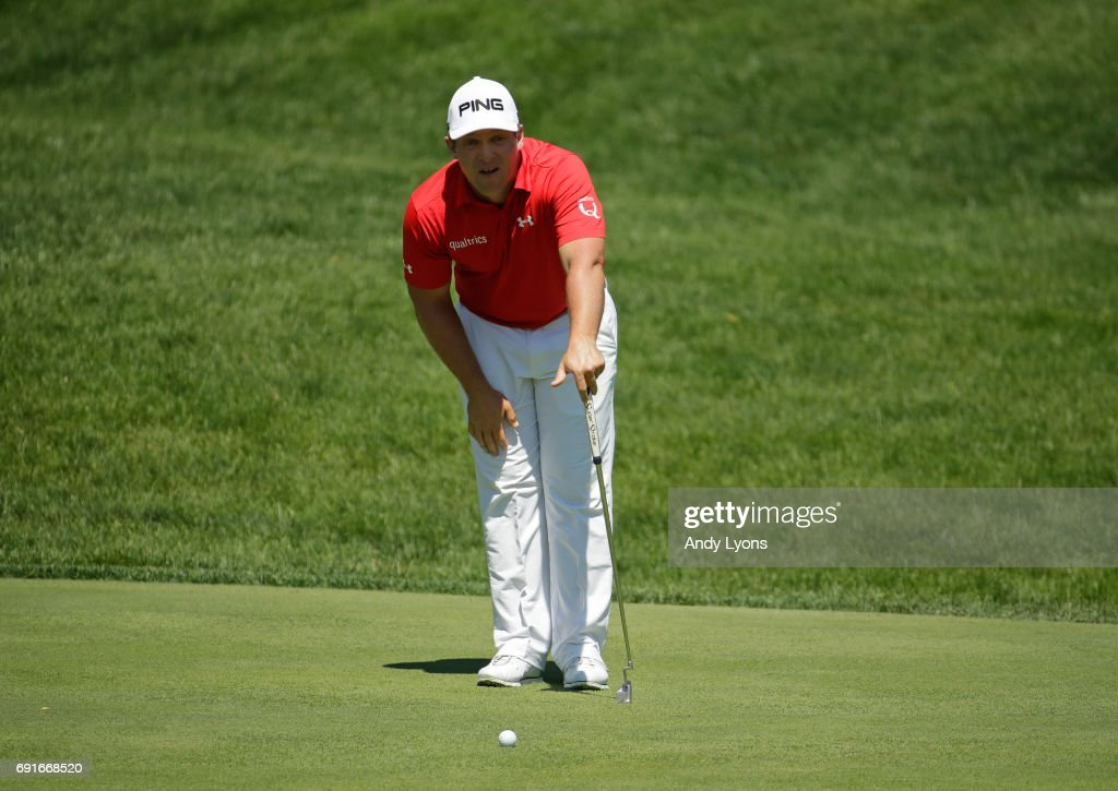Daniel Summerhays lines up a putt on the 15th hole during the second round of the Memorial Tournament at Muirfield Village Golf Club on June 2, 2017 in Dublin, Ohio.