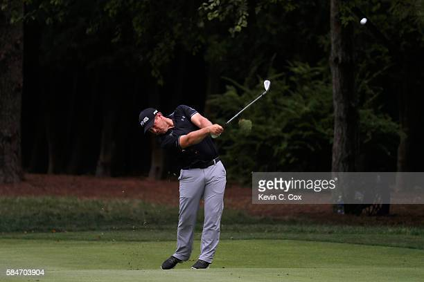 Daniel Summerhays of the United States holes out for eagle on the second hole during the third round of the 2016 PGA Championship at Baltusrol Golf...