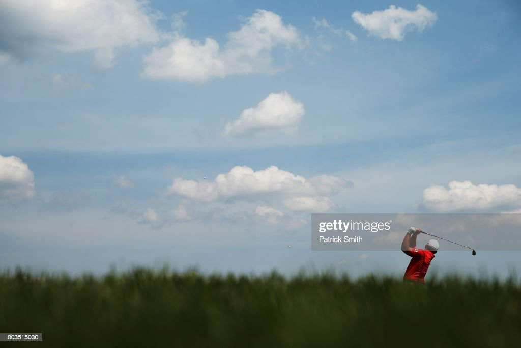 Daniel Summerhays of the United States plays a shot on the 17th hole during the first round of the Quicken Loans National on June 29, 2017 TPC Potomac in Potomac, Maryland.
