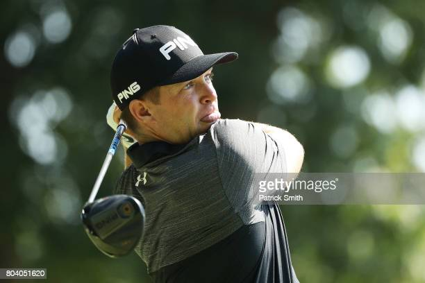 Daniel Summerhays of the United States plays his shot from the eighth tee during the second round of the Quicken Loans National on June 30, 2017 TPC...