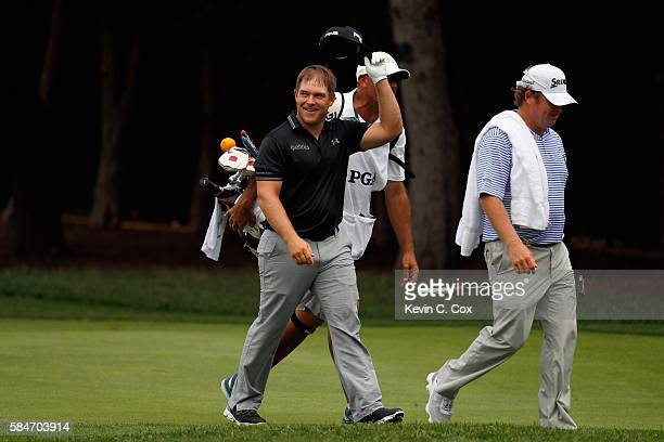 Daniel Summerhays of the United States reacts after holing out for eagle on the second hole during the third round of the 2016 PGA Championship at...