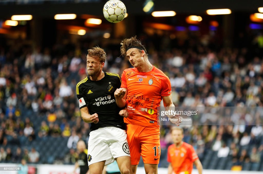 Daniel Sundgren of AIK and Andrew Fox during the Allsvenskan match between AIK and Athletic FC Eskilstuna at Friends arena on August 13, 2017 in Solna, Sweden.