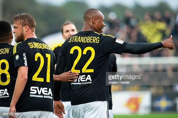 Daniel Sundgren of AIK and Carlos Strandberg of AIK after 01 during the Allsvenskan match between Falkenbergs FF and AIK at Falkenbergs IP on May 20...