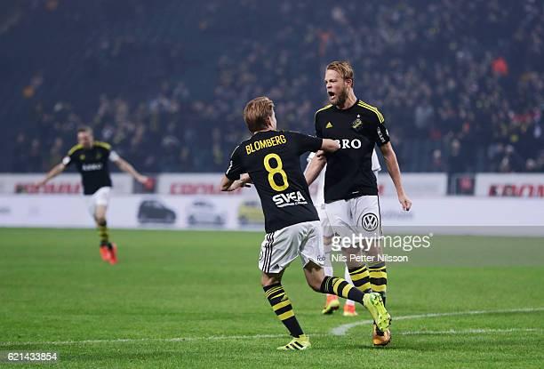 Daniel Sundgren of AIK celebrates after scoring to 21 during the Allsvenskan match between AIK and Kalmar FF at Friends arena on November 6 2016 in...