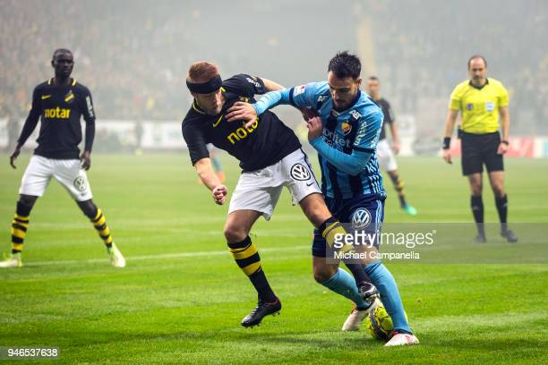 Daniel Sundgren of AIK in a duel with Dzenis Kozica of Djurgardens IF during an Allsvenskan match between AIK and Djurgardens IF at Friends arena on...