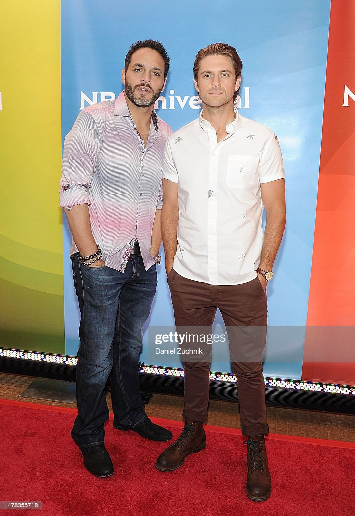 Daniel Sunjata and Aaron Tveit attend the 2015 NBC New York Summer Press Day at Four Seasons Hotel New York on June 24, 2015 in New York City.