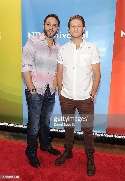 Daniel Sunjata and Aaron Tveit attend the 2015 NBC New York Summer Press Day at Four Seasons Hotel New York on June 24 2015 in New York City