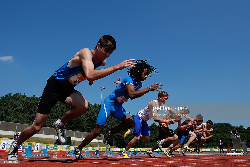 Daniel Szabo of Hungary. Jachym Prochazka of Czech Republic, Tomas Pecko of Slovakia, Tarlan Jabiyev of Azerbaijan, Joris van Gool of Netherlands, Hjalti Gudmundur Jonsson of Iceland, Aldo Diego Pettorossi of Italy and Eran Sibony of Israel compete in the Girls 100m heats during the European Youth Olympic Festival held at the Athletics Track Maarschalkersweerd on July 15, 2013 in Utrecht, Netherlands.