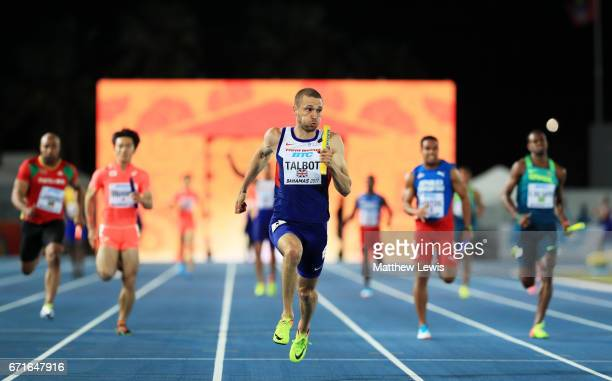 Daniel Talbot of Great Britain runs to the finishline in heat three of the Men's 4 x 100 Meters Relay during the IAAF/BTC World Relays Bahamas 2017...