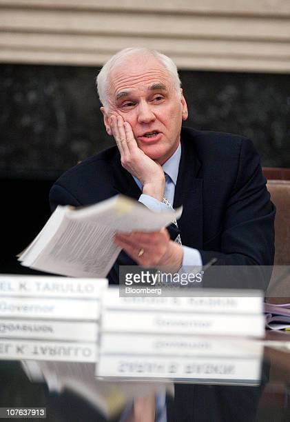 Daniel Tarullo governor of the of the US Federal Reserve speaks during an open meeting of the Federal Reserve Board in Washington DC US on Thursday...