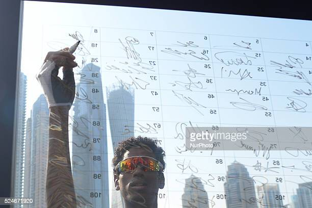 Daniel Teklehaimanot ahead of the start of the 2016 Tour of Dubai's second stage the 188km Nakheel Stage from DIMC going through the desert to end in...