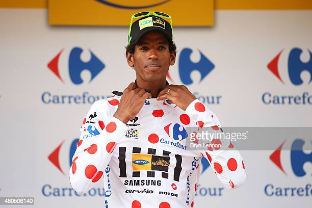 Daniel Teklehaimanot of Eritrea and MTN-Qhubeka retains the polka dot jersey following stage nine of the 2015 Tour de France, a 28km team time trial...
