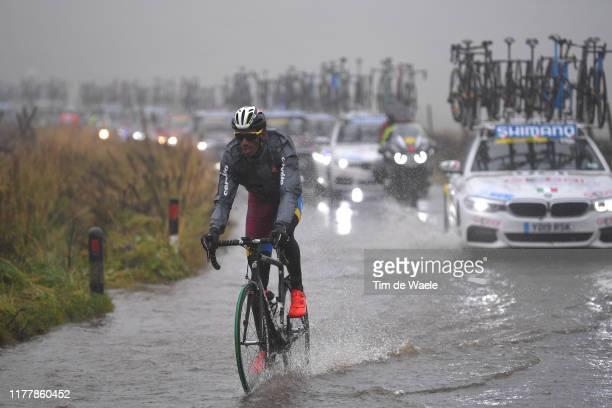 Daniel Teklehaimanot of Eritrea / Flooded race route on Cray Summit / Rain / Water / during the 92nd UCI Road World Championships 2019 Men Elite Road...