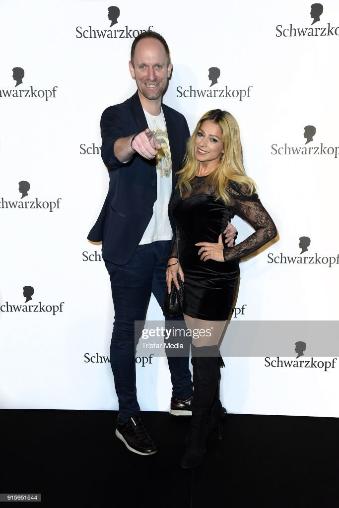 Daniel Termann and Shirin Tabatabai attend the 120th anniversary celebration of Schwarzkopf at U3 subway tunnel Potsdamer Platz on February 8, 2018 in Berlin, Germany.