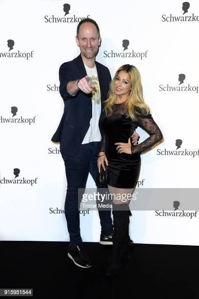 Daniel Termann and Shirin Tabatabai attend the 120th anniversary celebration of Schwarzkopf at U3 subway tunnel Potsdamer Platz on February 8 2018 in...