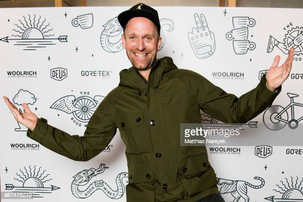 Daniel Termann attends the opening of the 'Good Wibes Bike Bar' to present the new ebike by Woolrich Deus at the Woolrich Store on April 11 2017 in...