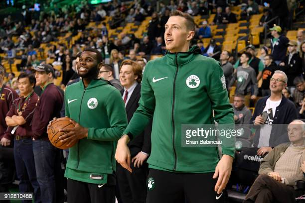 Daniel Theis and Kadeem Allen of the Boston Celtics warm up before the game against the New York Knicks on January 31 2018 at the TD Garden in Boston...