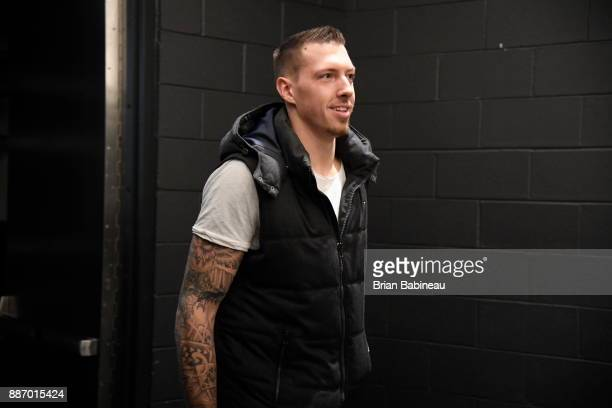 Daniel Theis of the Boston Celtics arrives at the arena before the game against the Milwaukee Bucks on December 4 2017 at the TD Garden in Boston...