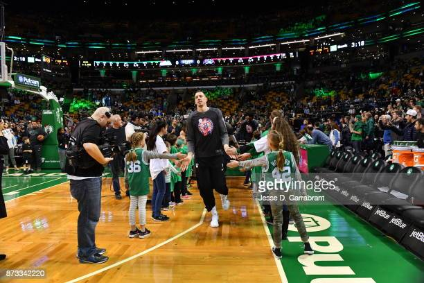 Daniel Theis of the Boston Celtics comes out to the crowd during the game against the Toronto Raptors on November 12 2017 at the TD Garden in Boston...