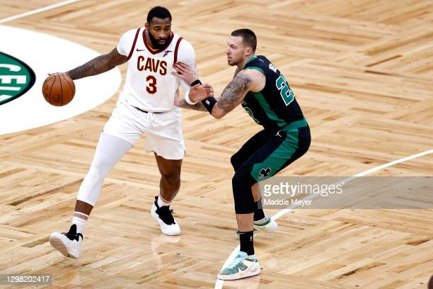 Daniel Theis of the Boston Celtics defends Andre Drummond of the Cleveland Cavaliers at TD Garden on January 24, 2021 in Boston, Massachusetts. NOTE...