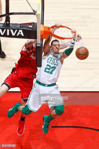 Daniel Theis of the Boston Celtics dunks against the Toronto Raptors on February 6 2018 at the Air Canada Centre in Toronto Ontario Canada NOTE TO...