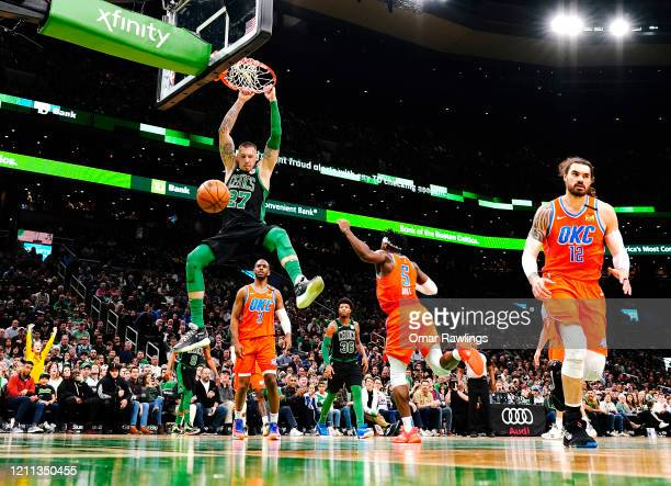 Daniel Theis of the Boston Celtics dunks during the fourth quarter of the game against the Oklahoma City Thunder at TD Garden on March 08 2020 in...