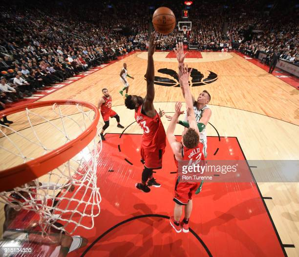 Daniel Theis of the Boston Celtics goes to the basket against the Toronto Raptors on February 6 2018 at the Air Canada Centre in Toronto Ontario...