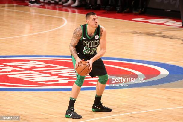 Daniel Theis of the Boston Celtics handles the ball against the Detroit Pistons on December 10 2017 at Little Caesars Arena in Detroit Michigan NOTE...