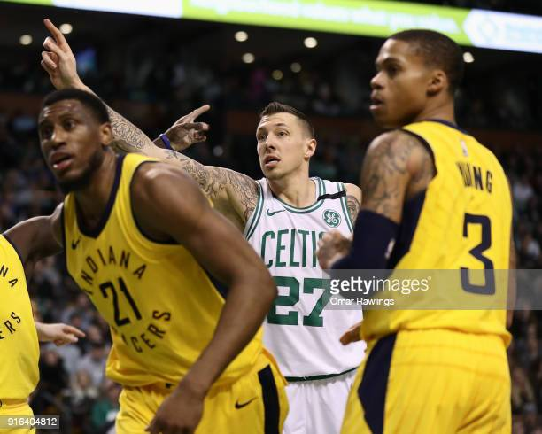 Daniel Theis of the Boston Celtics looks for a call from the official during the fourth quarter of the game against the Indiana Pacers at TD Garden...
