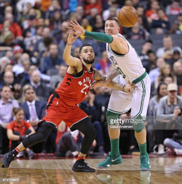 Daniel Theis of the Boston Celtics plays against Fred VanVleet of the Toronto Raptors in an NBA game at the Air Canada Centre on February 6 2018 in...