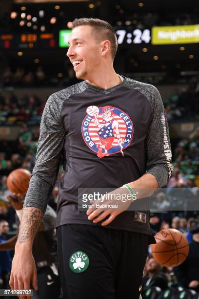 Daniel Theis of the Boston Celtics reacts before the game against the Charlotte Hornets on November 10 2017 at the TD Garden in Boston Massachusetts...